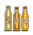 bottles of almond walnut peanut oil vector image vector image