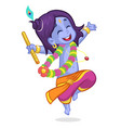 cartoon krishna dance vector image