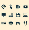 computer icons set with floppy disk server disc vector image