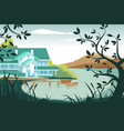 country house on river bank vector image vector image