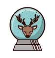 crystal ball with face of reindeer inside vector image vector image