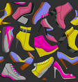 dark shoes seamless pattern vector image vector image