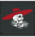 Day of The Dead Skull with flowers and sombrero vector image vector image