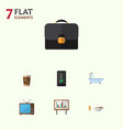 flat icon oneday set of briefcase cappuccino vector image vector image