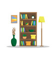 flat of a cozy bookcase with books clock plants vector image vector image