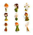 forest elves set fairytale magic characters in vector image