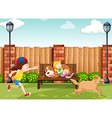 Girls playing with dogs in park vector image vector image