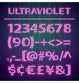 Glowing Ultraviolet Neon Numbers vector image vector image