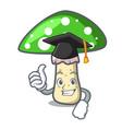 graduation green amanita mushroom character vector image vector image
