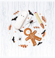 halloween festive background with treats vector image vector image