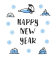 Happy new year poster Funny doodle seal vector image vector image
