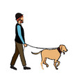 hipster man character walking with her pet dog vector image