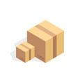 Isometric cardboard icon cartoon package box