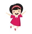 Japan girl jumping vector image vector image