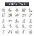 labor line icons signs set linear vector image