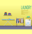 laundry room with washing machine ironing board vector image
