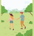 lovers meeting in park people leisure vector image vector image