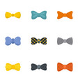 male bow tie icon set flat style vector image
