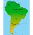Map of south america continent vector image
