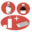 medical set medical objects vector image vector image