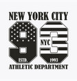 new york print with number in usa flag style vector image vector image