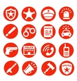 police icons set red buttons vector image vector image