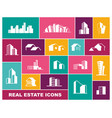real estate icon set in flat style vector image