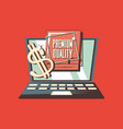 retro shopping laptop premium quality dollar vector image vector image