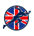 Runner Sprinter Start British Flag Circle vector image vector image