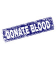 scratched donate blood framed rounded rectangle vector image vector image