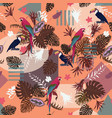 seamless exotic pattern with parrots vector image