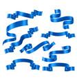 set blue ribbons vector image
