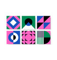 set bright cards with abstract geometric vector image vector image