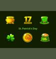 set icons st patricks day symbols vector image