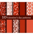 set of 10 seamless valentine day patterns vector image vector image