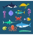 set of sea marine fish and animals vector image