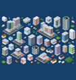 set of urban flat buildings vector image vector image