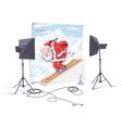 Skiing Santa Claus vector image vector image