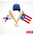 Symbols of Baseball team South Korea and Puerto vector image