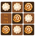 Tic-Tac-Toe of cinnamon roll and meringue vector image