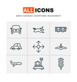 transportation icons set with plane transport vector image
