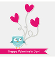 Valentine card with cute owl vector image vector image
