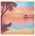 vintage poster with sunset on beach vector image vector image