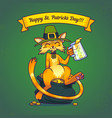 a cat in a leprechaun hat and a clover jewelry vector image vector image