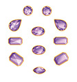 Amethyst Set Isolated Objects vector image