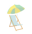 beach chair umbrella icon on white background for vector image vector image