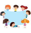 blue banner with happy children vector image vector image