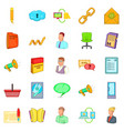 business icons set cartoon style