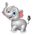 cartoon baby elephant look to the side with trunk vector image vector image