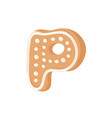 cartoon ginger bread cookie letter p hand drawn vector image